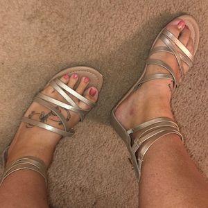 Lane Bryant pale gold gladiator sandals